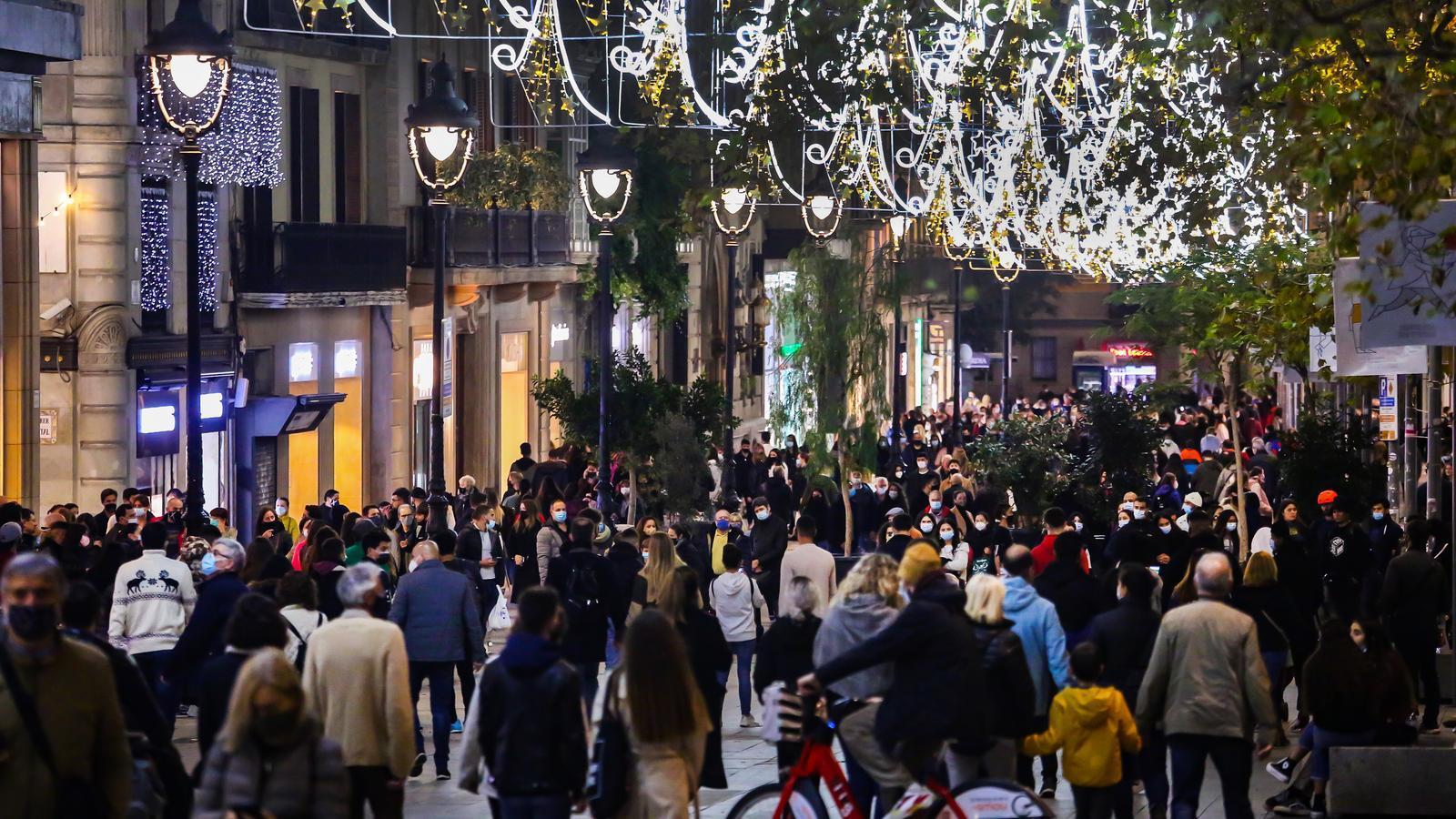 Portal de l'Angel de Barcelona a finals de Novembre de l'any 2020