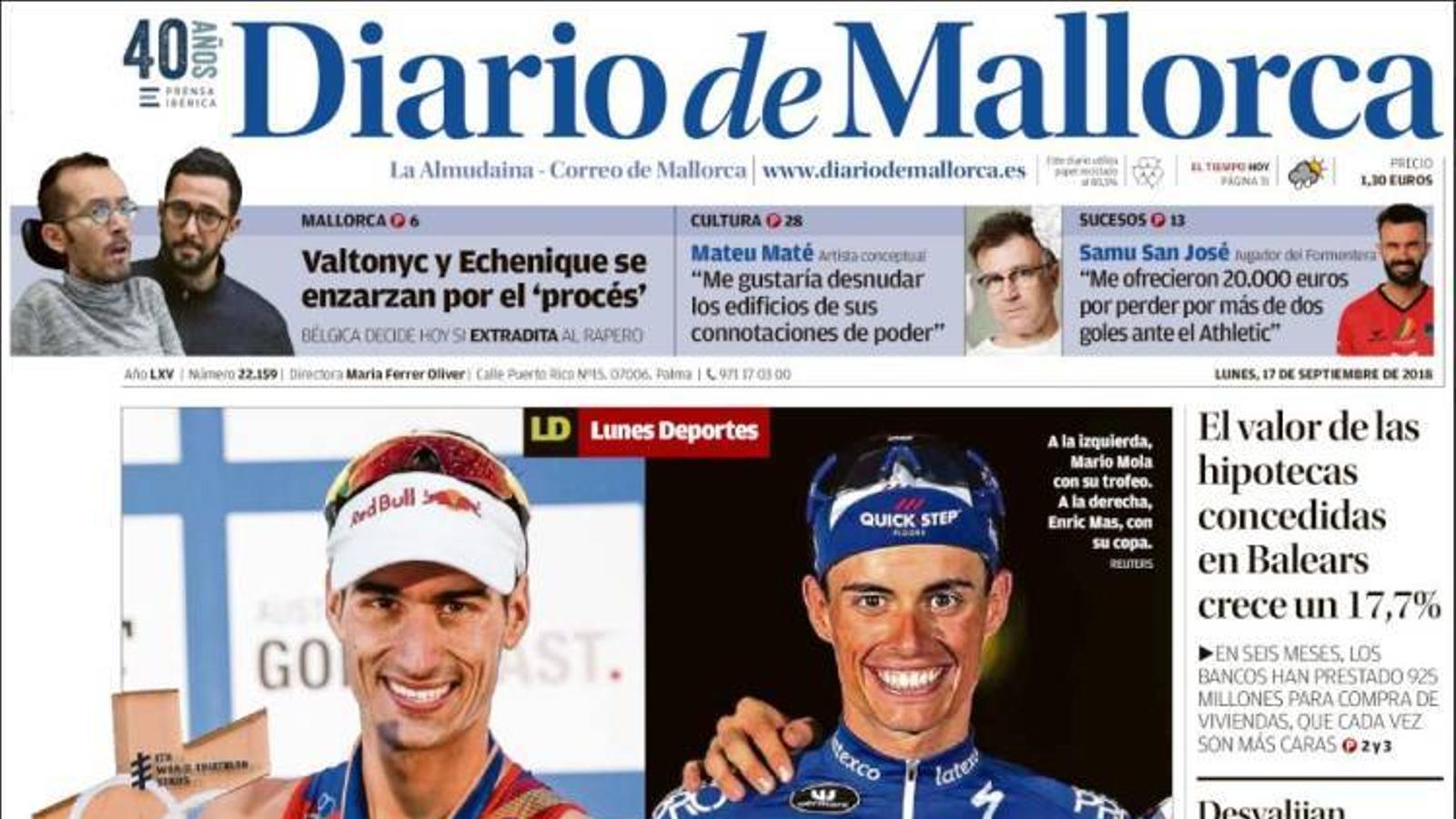 """""""Terra de campions"""", portada a 'Diario de Mallorca'"""