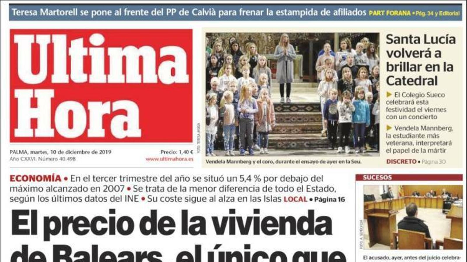 """""""El preu de l'habitatge de Balears, l'únic que frega el nivell de la precrisi"""", portada de l''Última Hora'"""