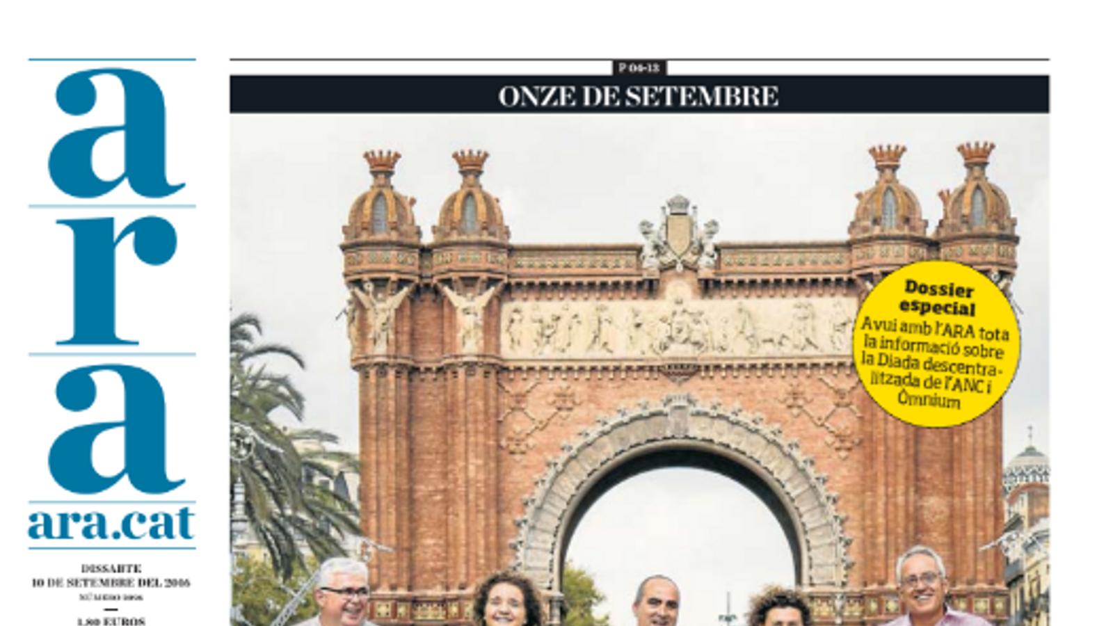 """""""Onze de setembre: un pas més"""", portada de l'ARA d'aquest dissabte"""