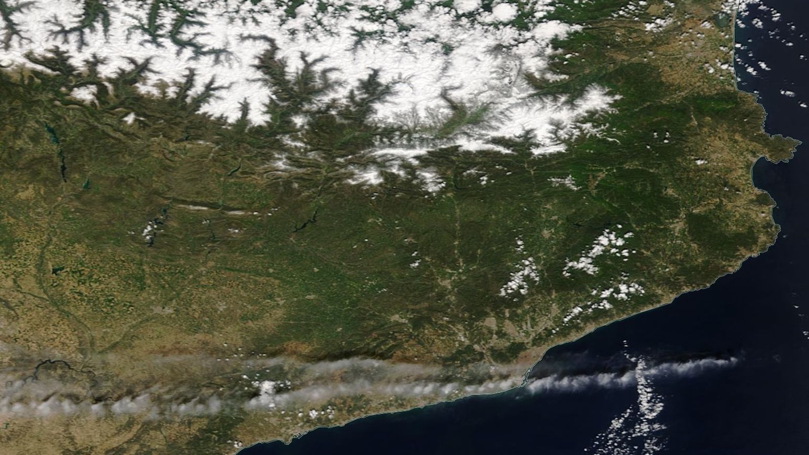 La nevada de dijous a vista de satèl·lit
