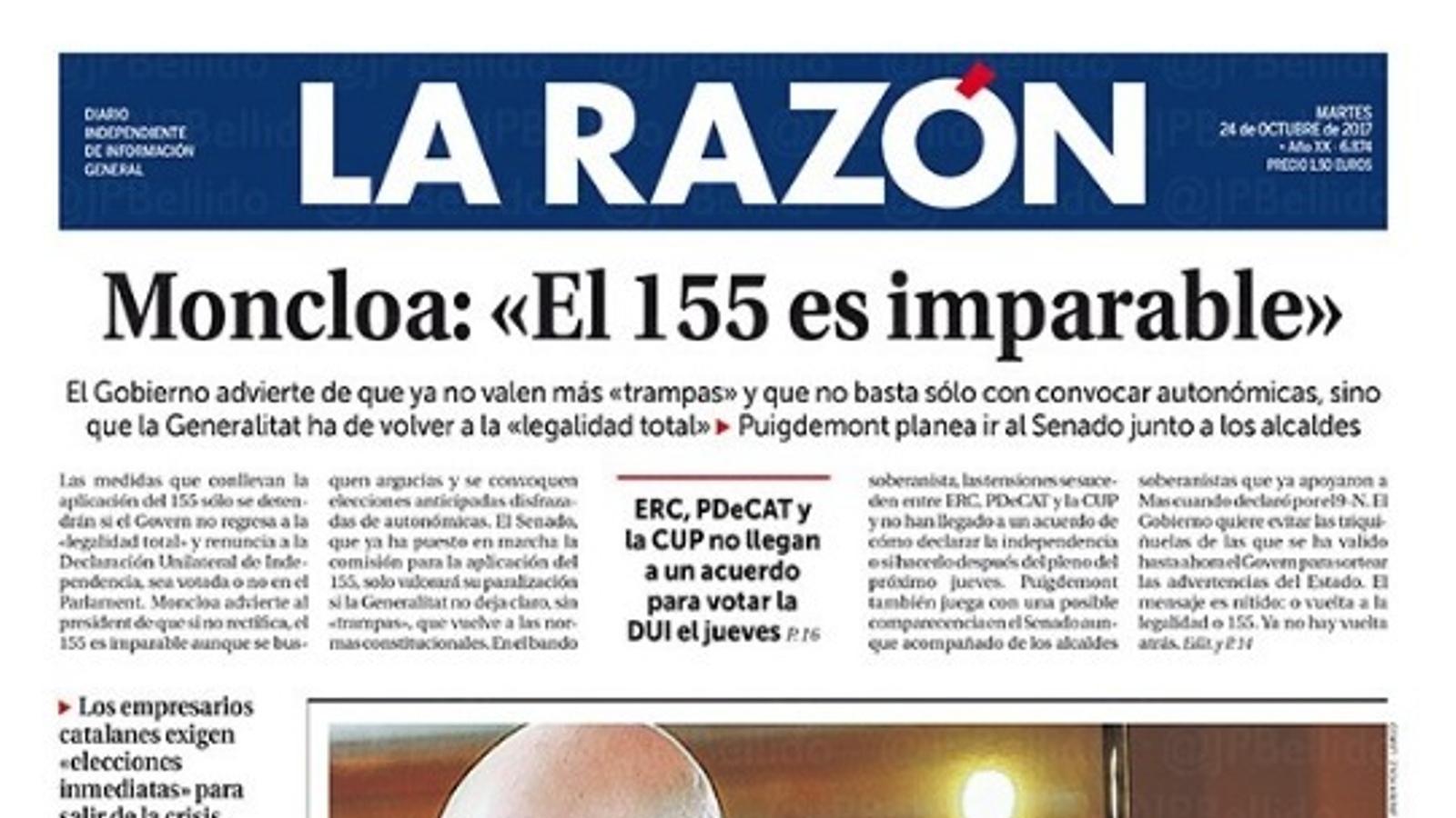 """""""Moncloa: 'El 155 és imparable'"""", portada de 'La Razón'"""