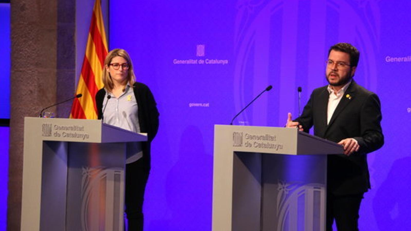 Compareixença conjunta de vicepresident del Govern, Pere Aragonès, i la consellera de la Presidència i portaveu, Elsa Artadi