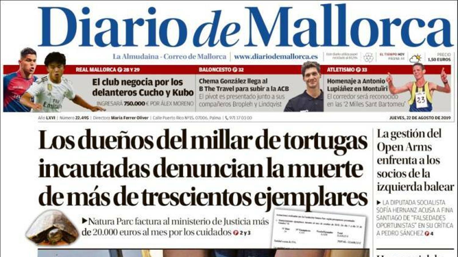"""""""Els propietaris del miler de tortugues confiscades denuncien la mort de més de tres-cents exemplars"""", portada de 'Diario de Mallorca'"""