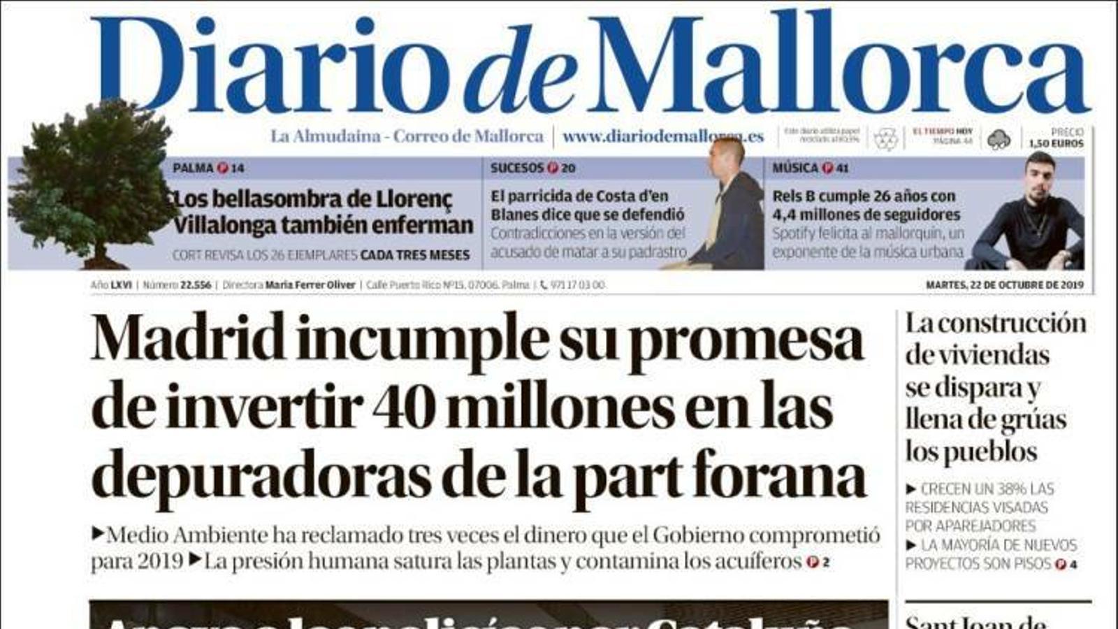 """""""Madrid incompleix la seva promesa d'invertir 40 milions en les depuradores de la part forana"""", a la portada de 'Diario de Mallorca'"""