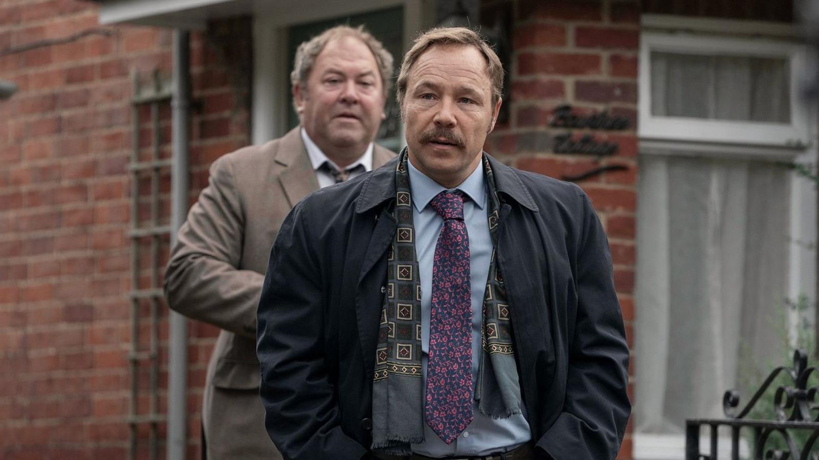 Els actors Mark Addy i Stephen Graham a la sèrie 'White House Farm'