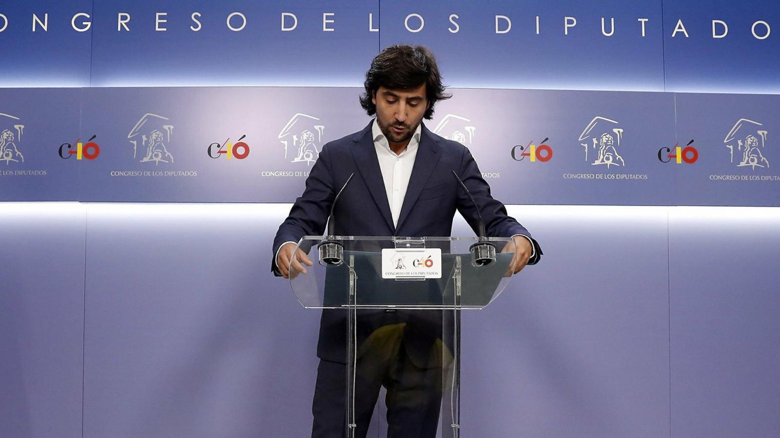 El ja exportaveu econòmic de Cs Toni Roldán, ahir, durant la seva compareixença de comiat al Congrés.