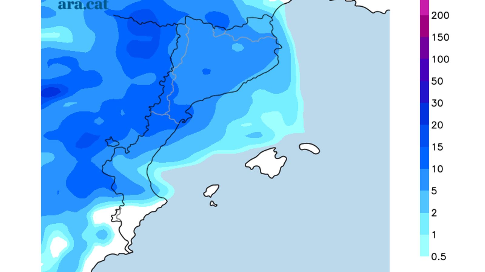 Acumulacions de precipitació previstes per dilluns