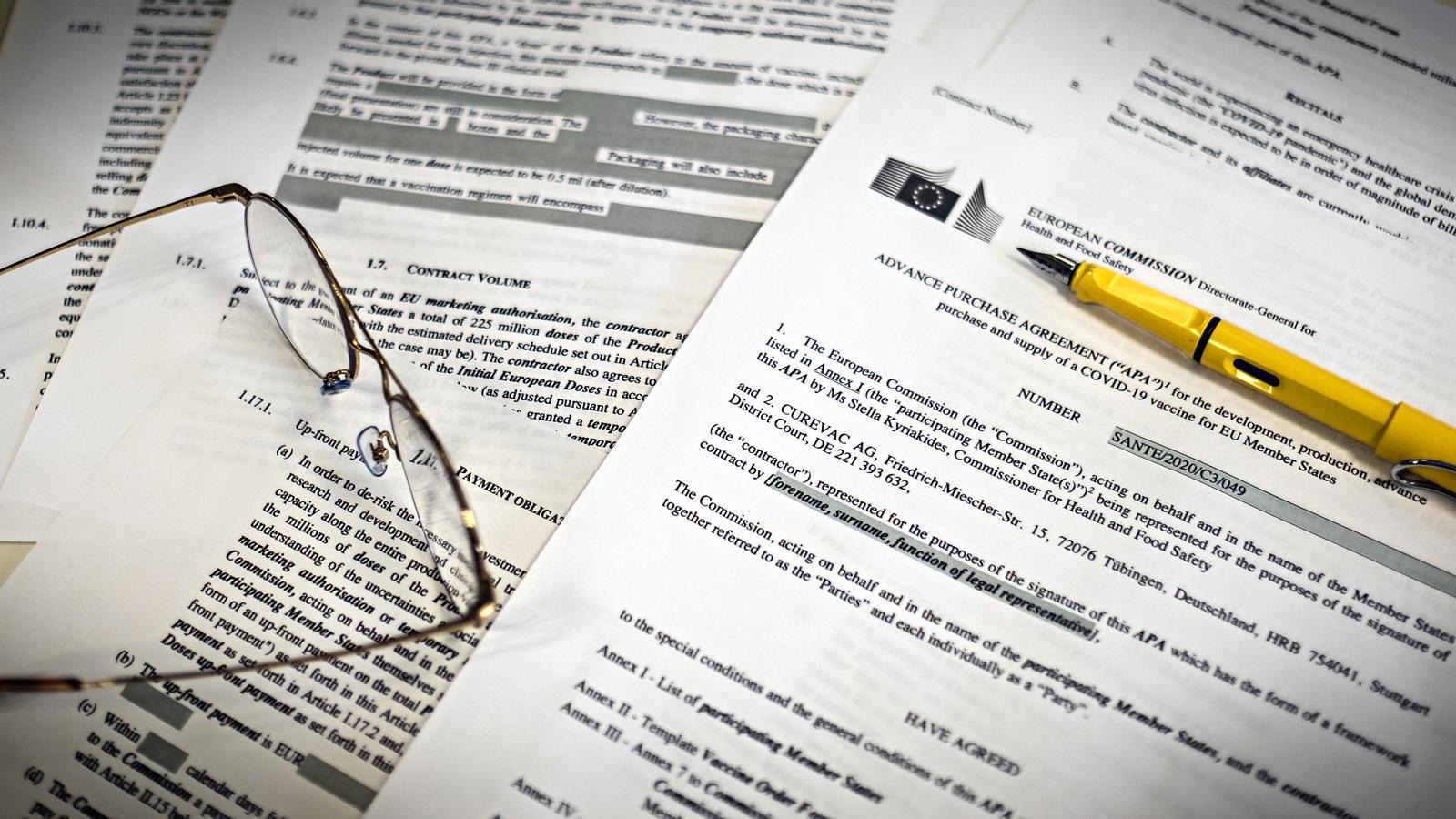 El contracte de Curevac censurat i publicat per la Comissió Europea.