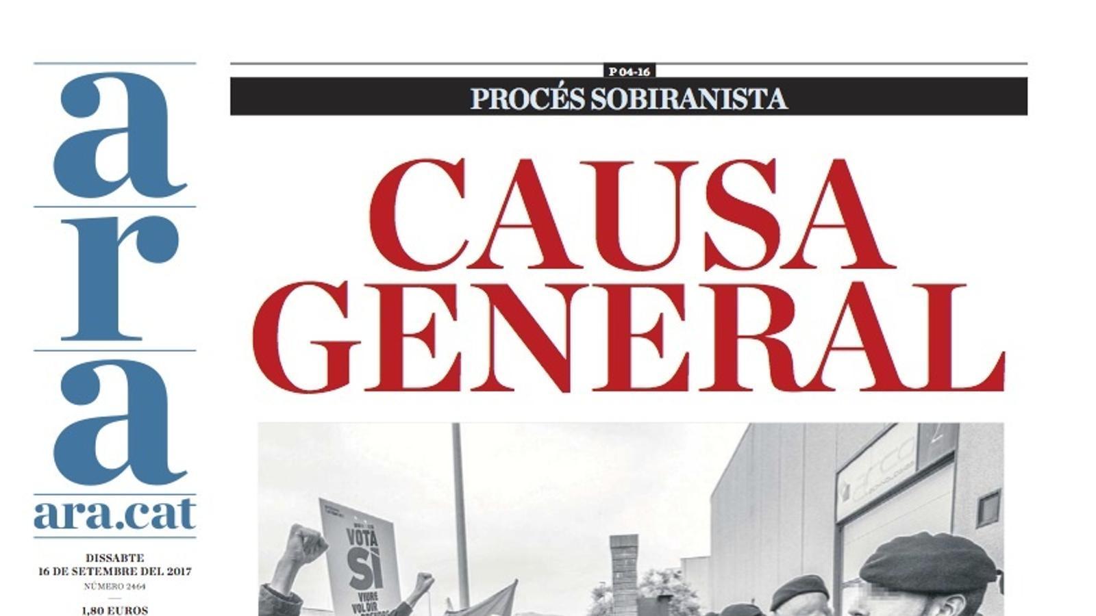 """""""Causa general"""", portada de l'ARA"""