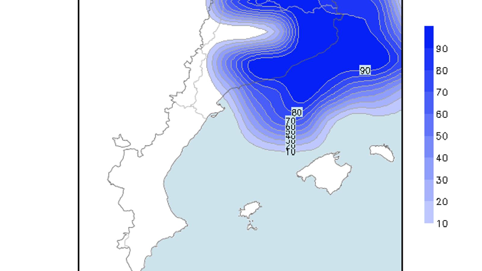 Probabilitat de que es superin els 20 litres/m2 durant dissabte / Model GFS 0.25 / ARA méteo