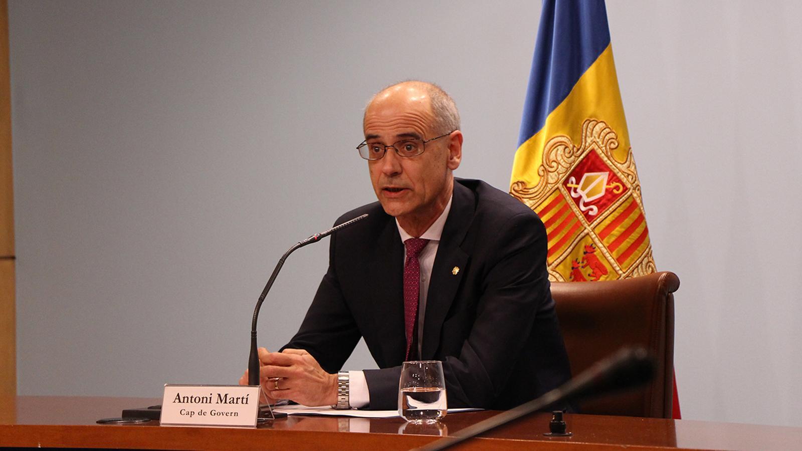 El cap de Govern, Toni Martí, durant l'anunci de les dates per a la celebració de les eleccions generals. / M. F. (ANA)