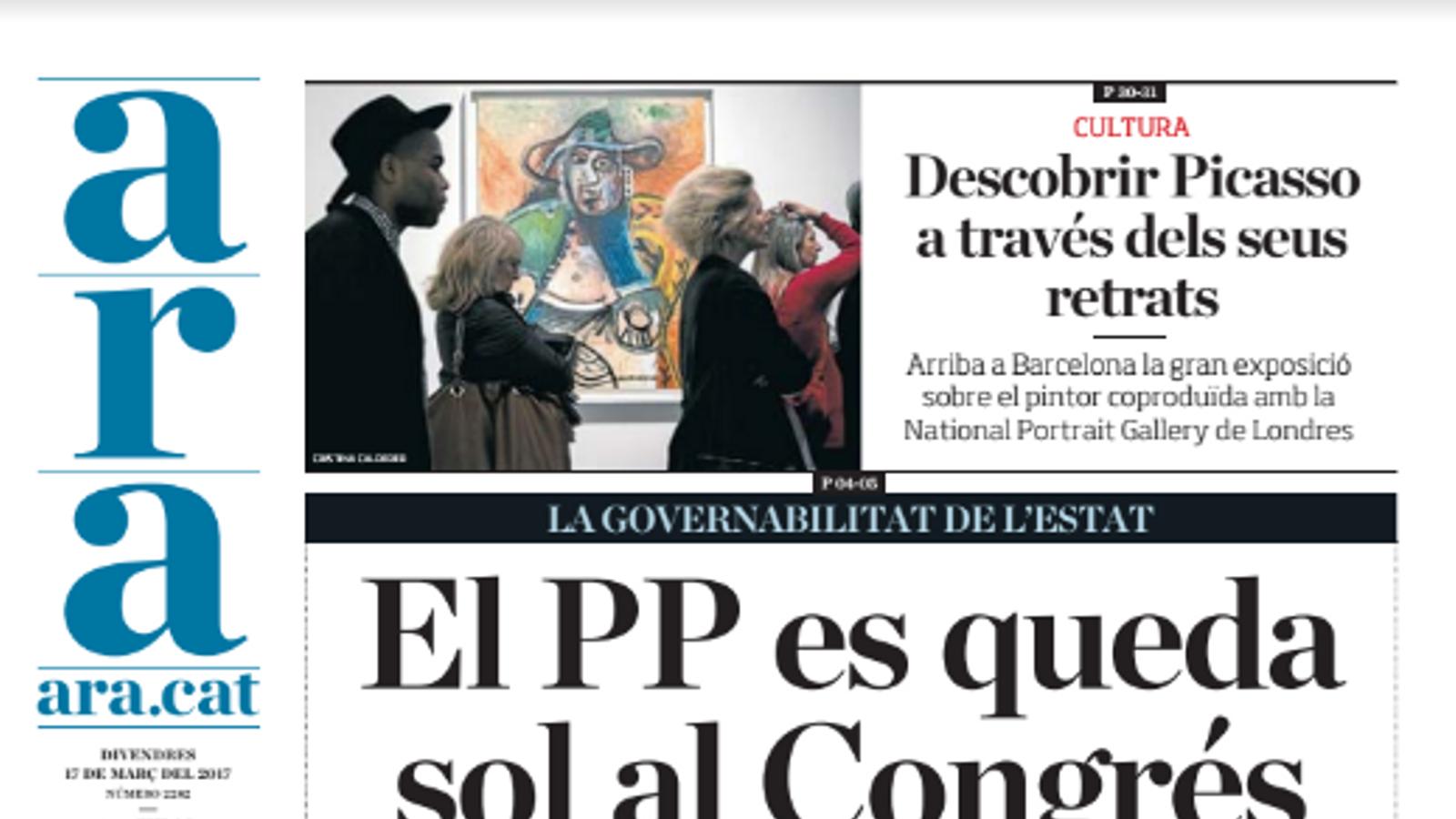 """""""El PP es queda sol al Congrés"""", portada de l'ARA d'aquest divendres"""