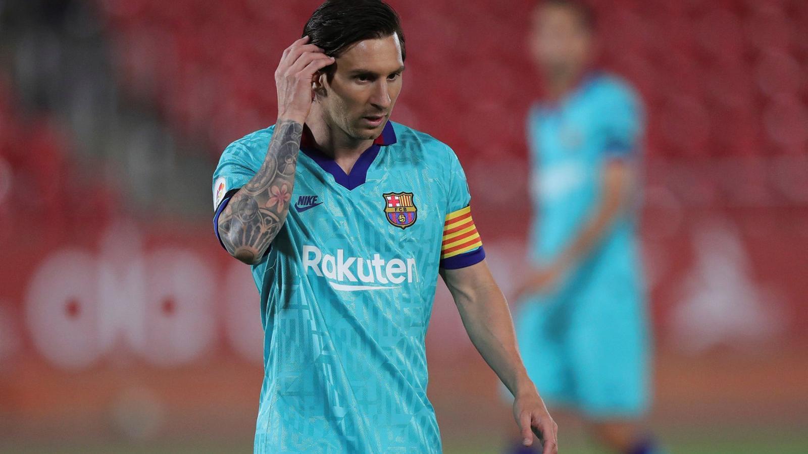 Leo Messi, davanter argentí del Barça, durant el partit de l'equip blaugrana contra el Mallorca.