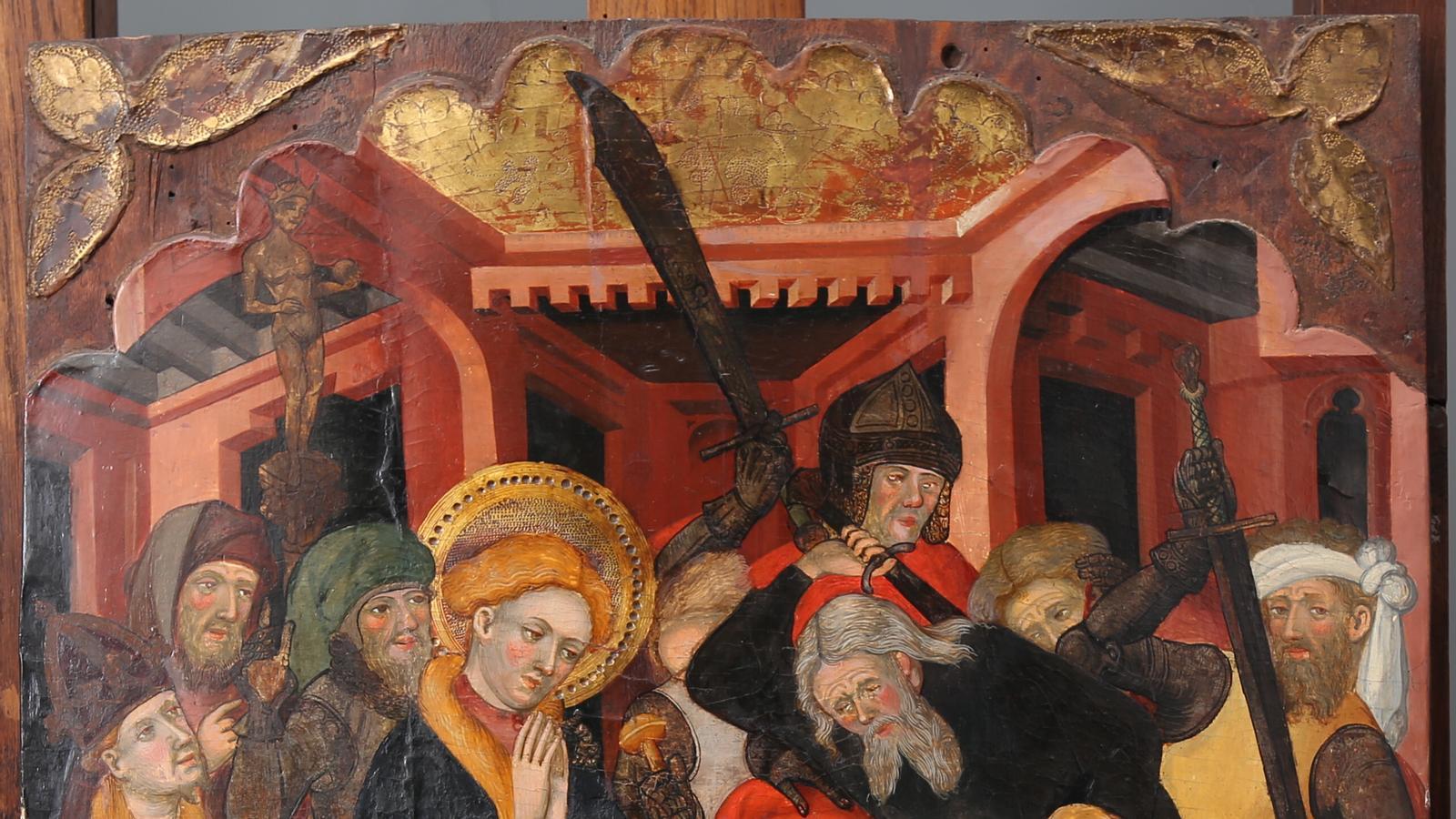 Taula de Lluís Borrassà del retaule de sant Llorenç, sant Hipòlit i sant Tomàs d'Aquino de la capella de Sant Llorenç de la catedral de Barcelona.