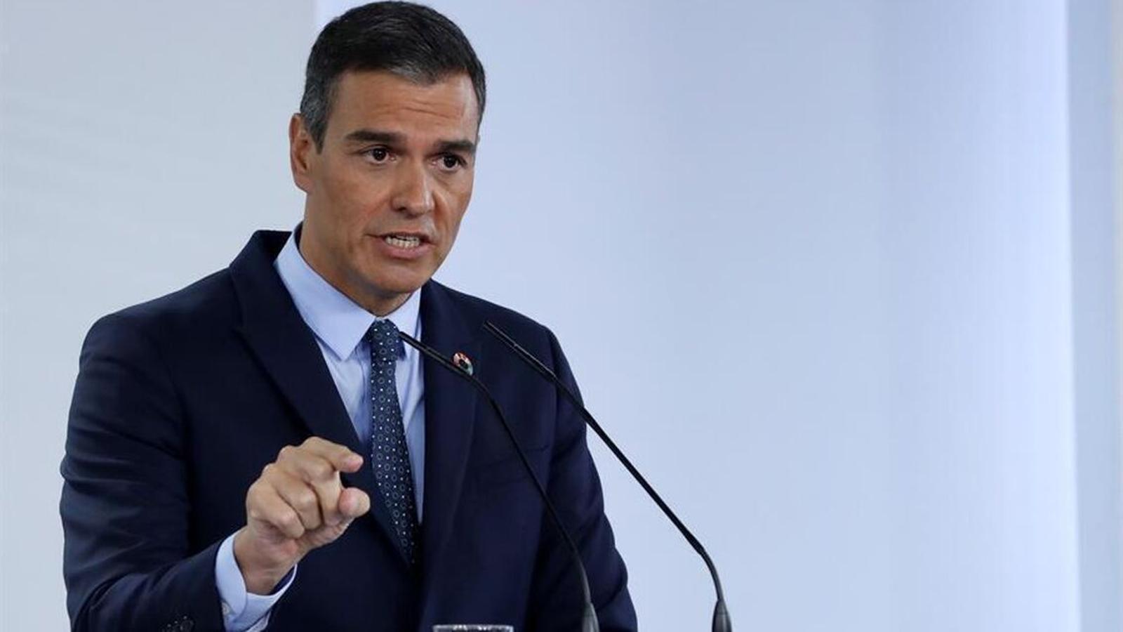 El president del govern espanyol, Pedro Sánchez, durant la presentació aquest dimecres del pla de recuperació econòmica