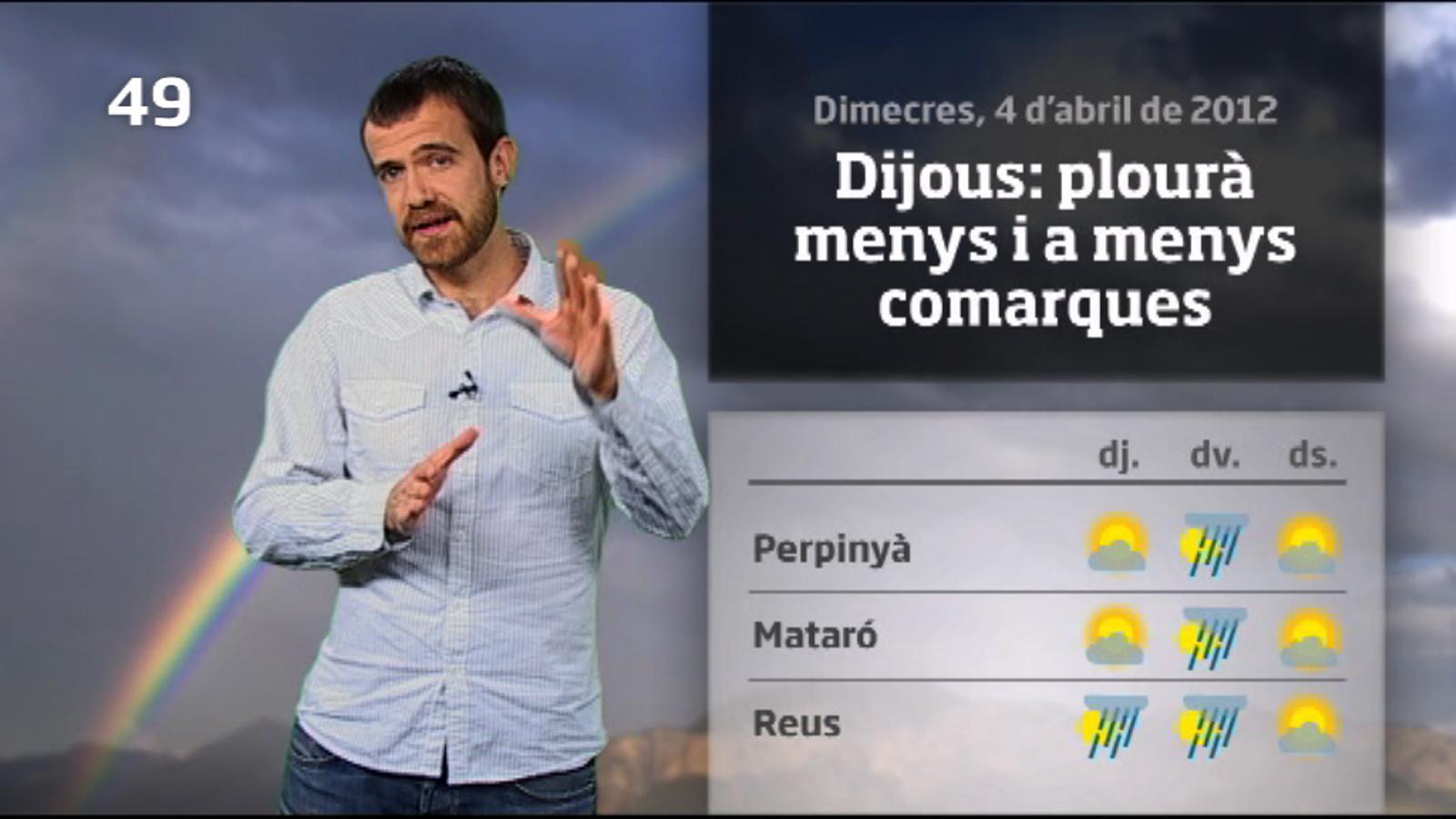 La méteo en 1 minut: aquest dijous plourà menys i a menys llocs (05/04/2012)