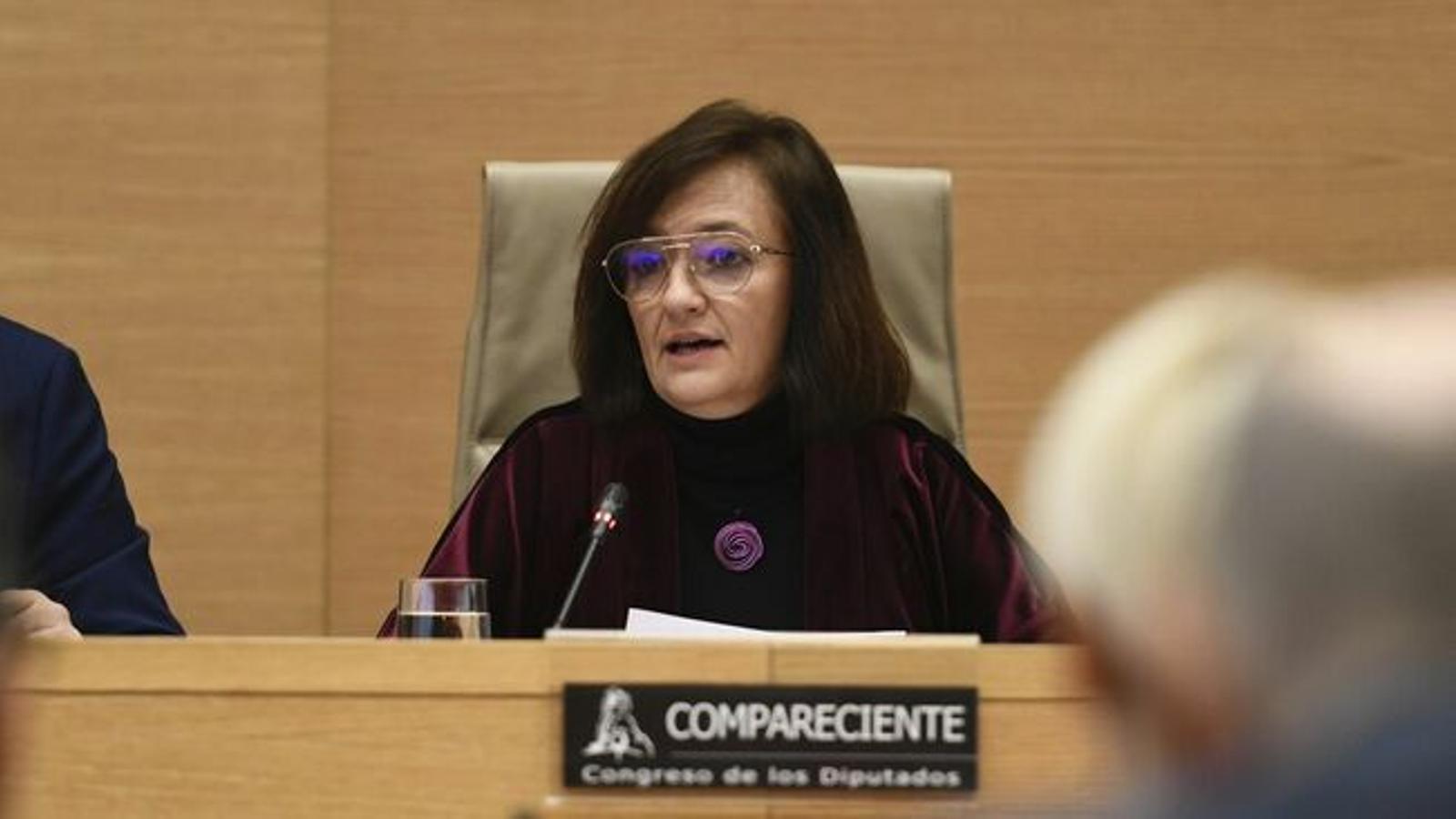 La presidenta de l'Airef, Cristina Herrero, en la seva última compareixença al Congrés de Diputats