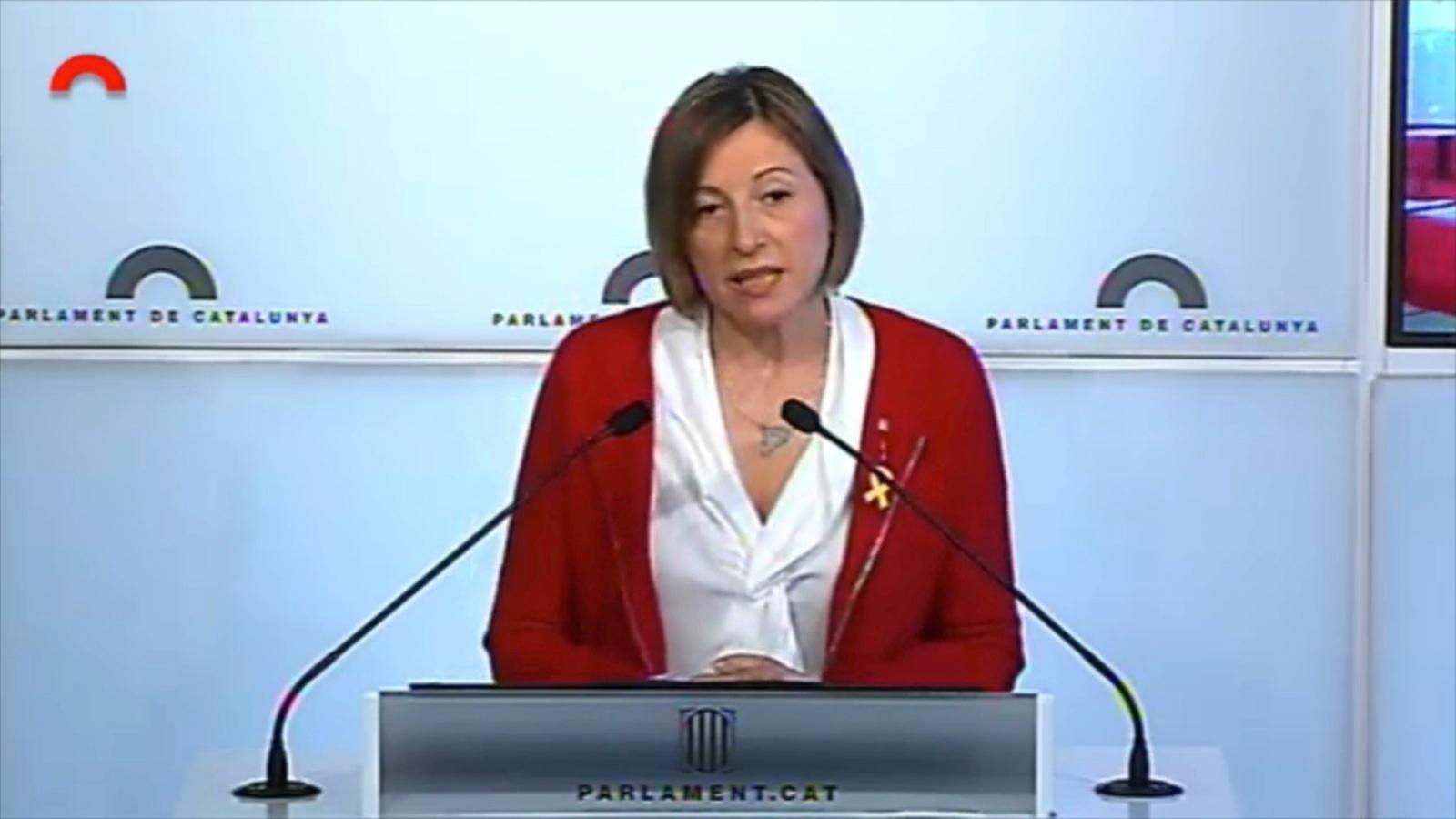 """Forcadell: """"Anuncio que no em postularé per repetir com a presidenta del Parlament"""""""