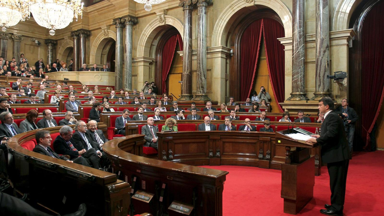 Laporta en la seva primera intervenció al Parlament. Foto: EFE
