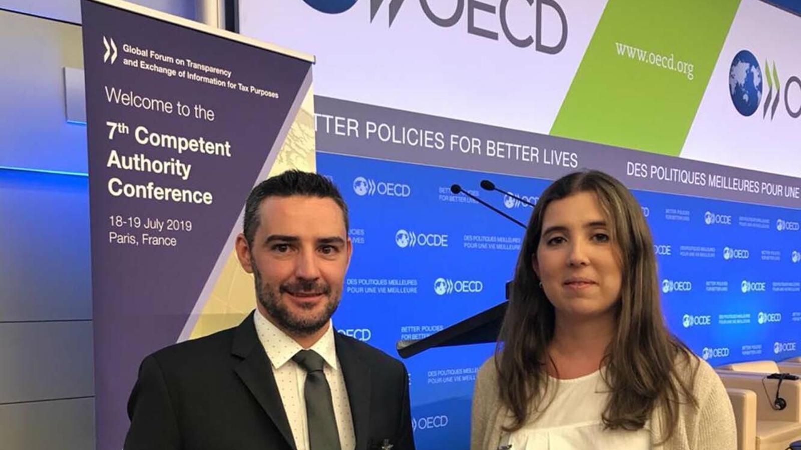 El secretari d'Estat d'Afers Financers Internacionals, Marc Ballestà, durant la seva participació a la trobada de l'OCDE. / SFG
