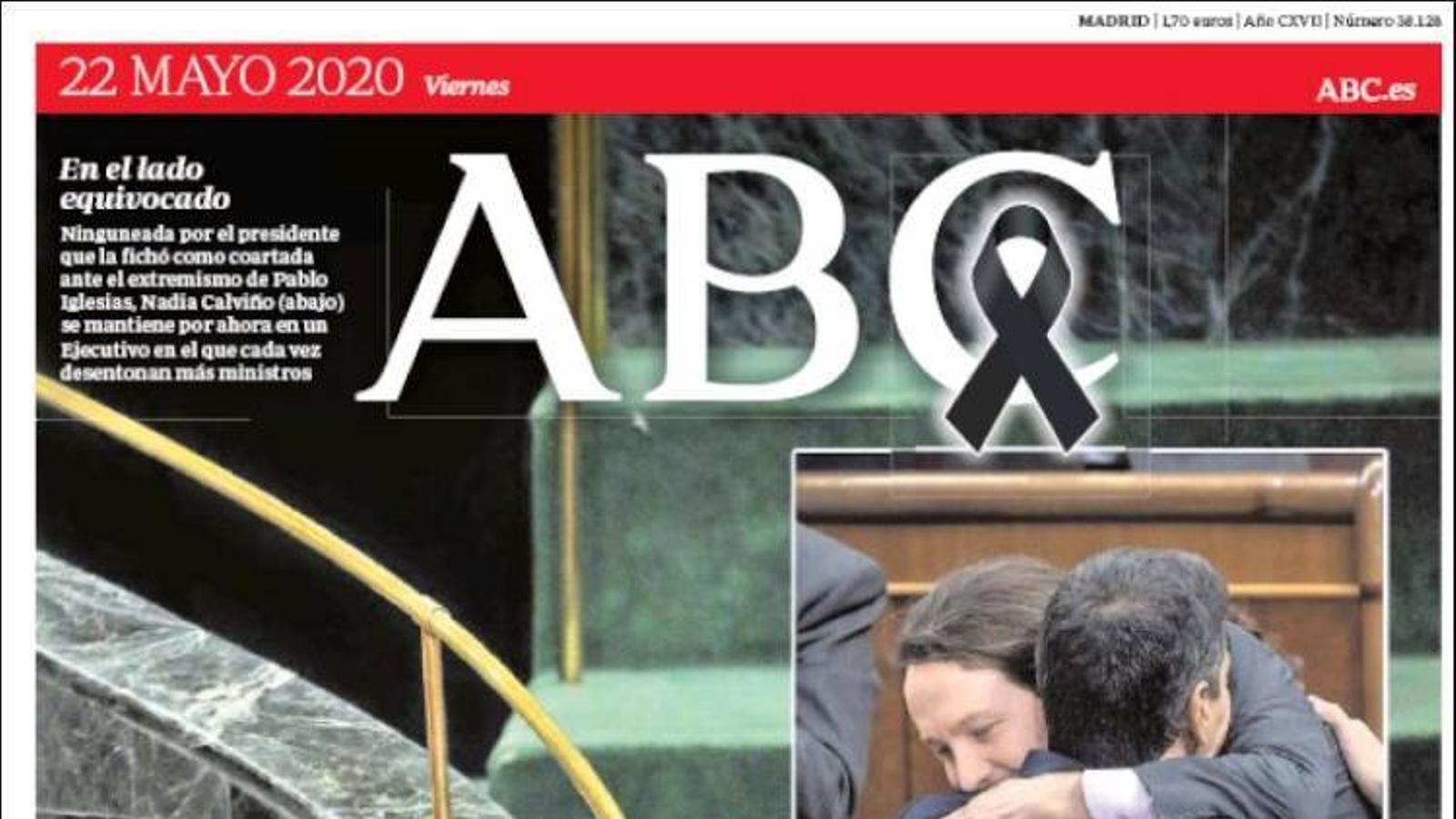 Portada de l'Abc, 22 de maig del 2020