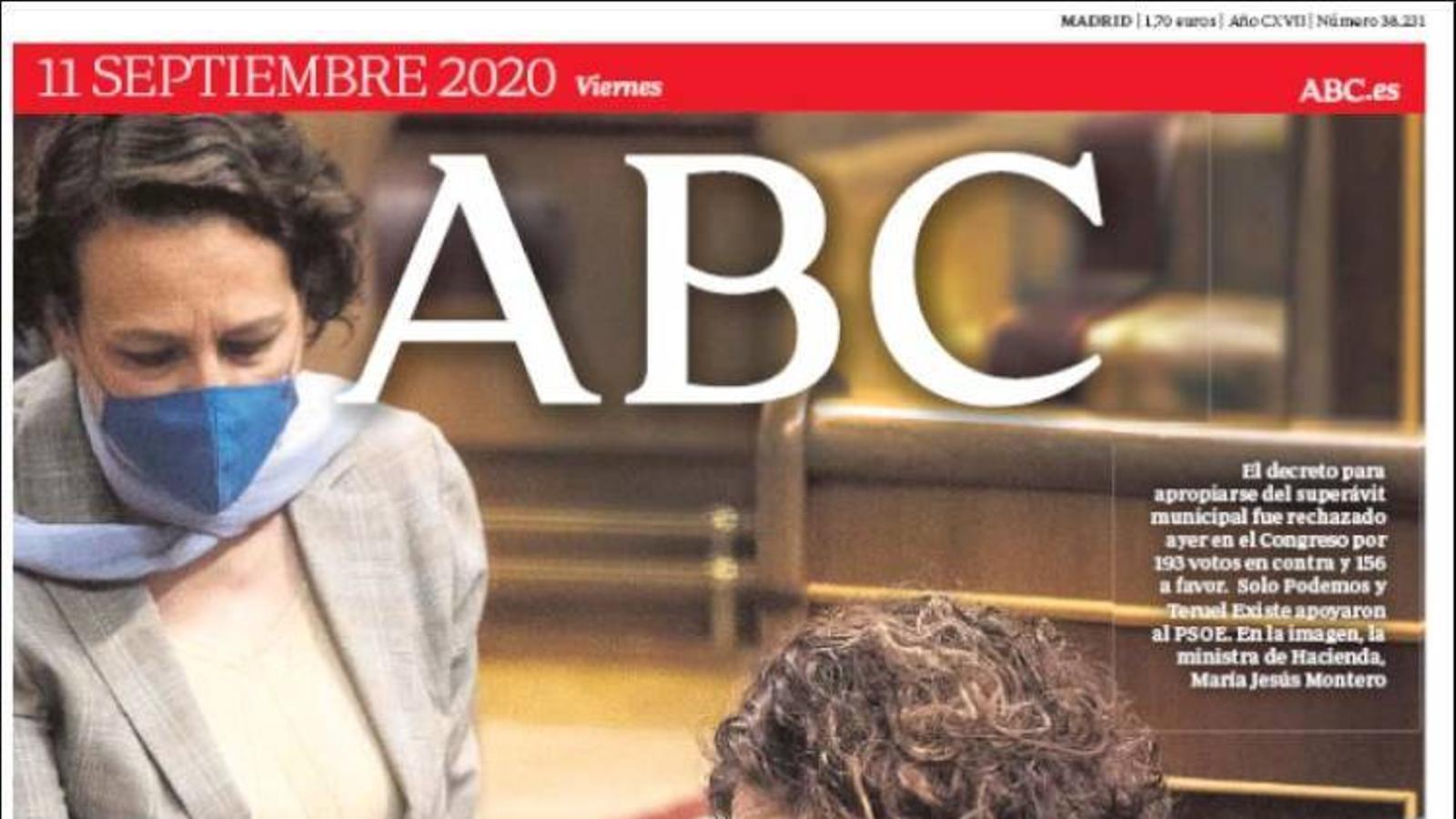 La portada de l''ARA' de l'11 de setembre de 2020