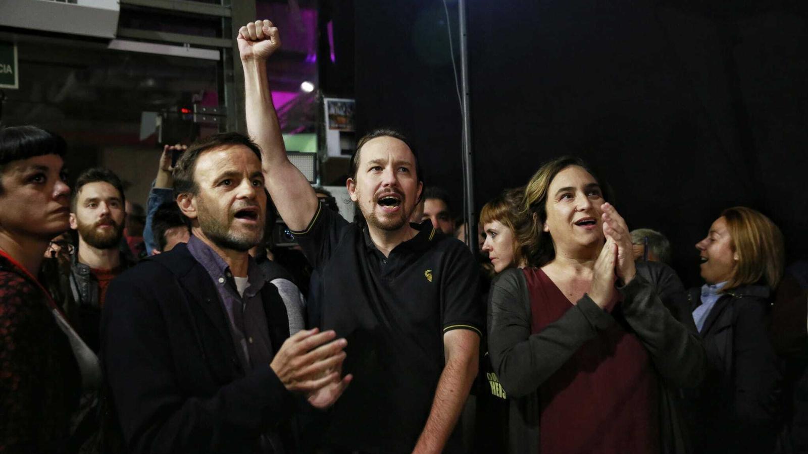 Colau, amb Iglesias i Asens, al míting d'aquest dimecres