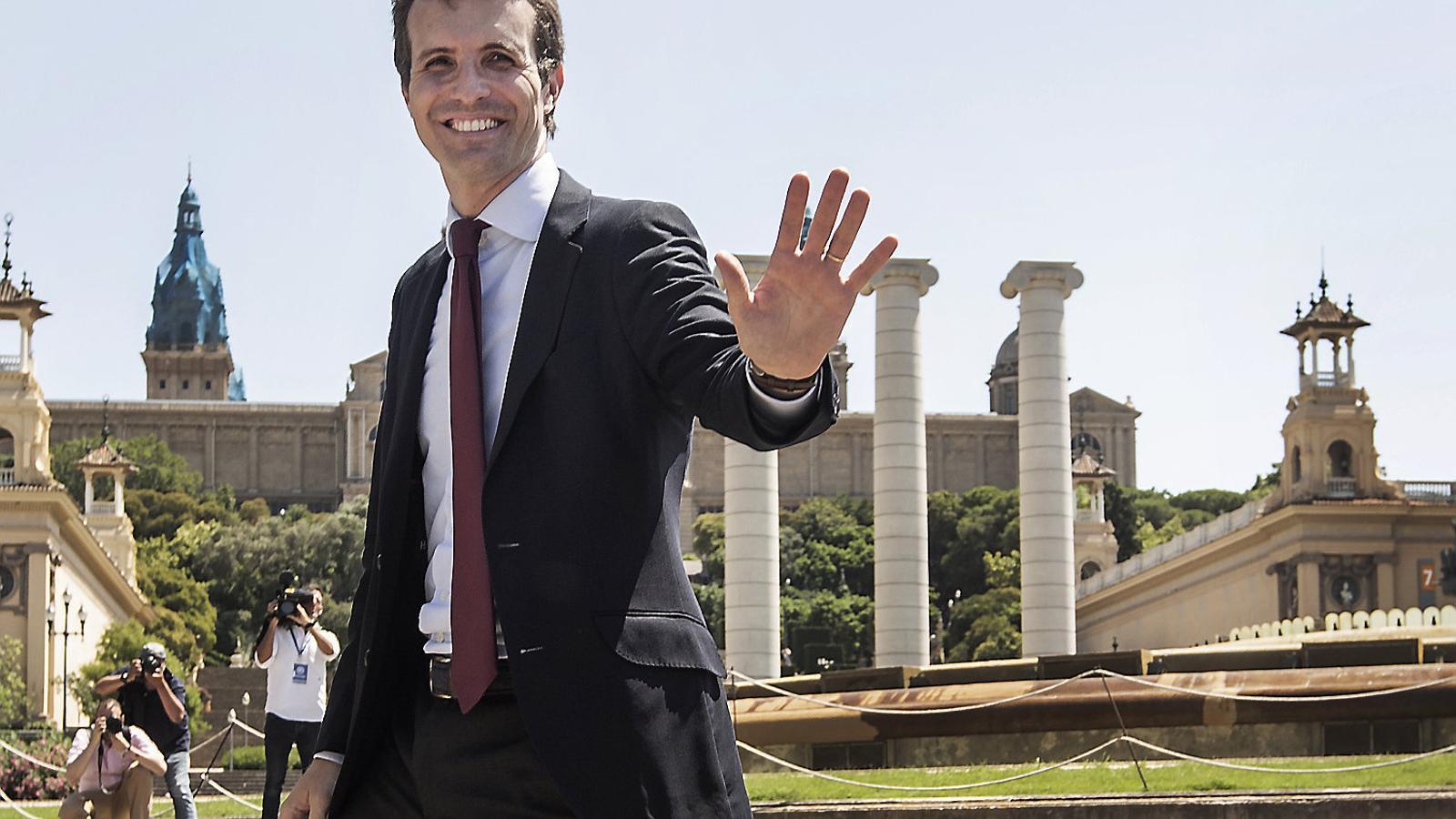 El nou líder del PP, Pablo Casado, abans de presidir la seva primera reunió del comitè executiu, que es va celebrar a Barcelona el 25 de juliol.