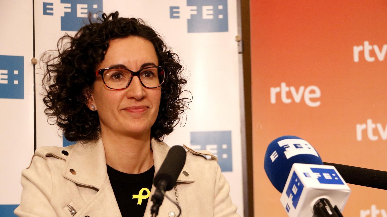 Marta Rovira, durant la roda de premsa organitzada per l'Agència EFE