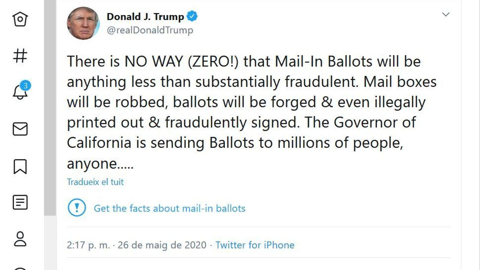 El tuit de Trump, amb l'alerta de desinformació de Twitter.