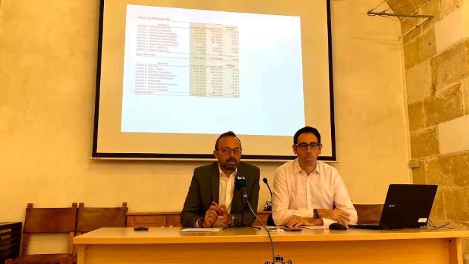 José Luis Benejam i Cristòbal Marquès han detallat els pressupostos municipals en un acte celebrat a l'Ajuntament.