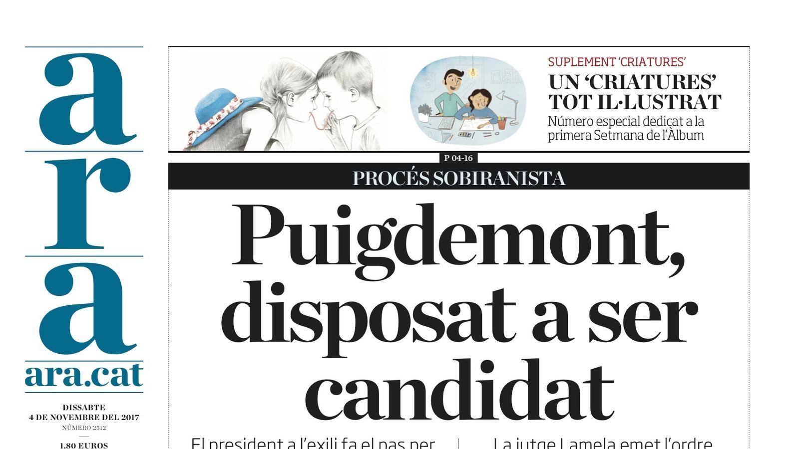 """""""Puigdemont, disposat a ser candidat"""", la portada de l'ARA"""
