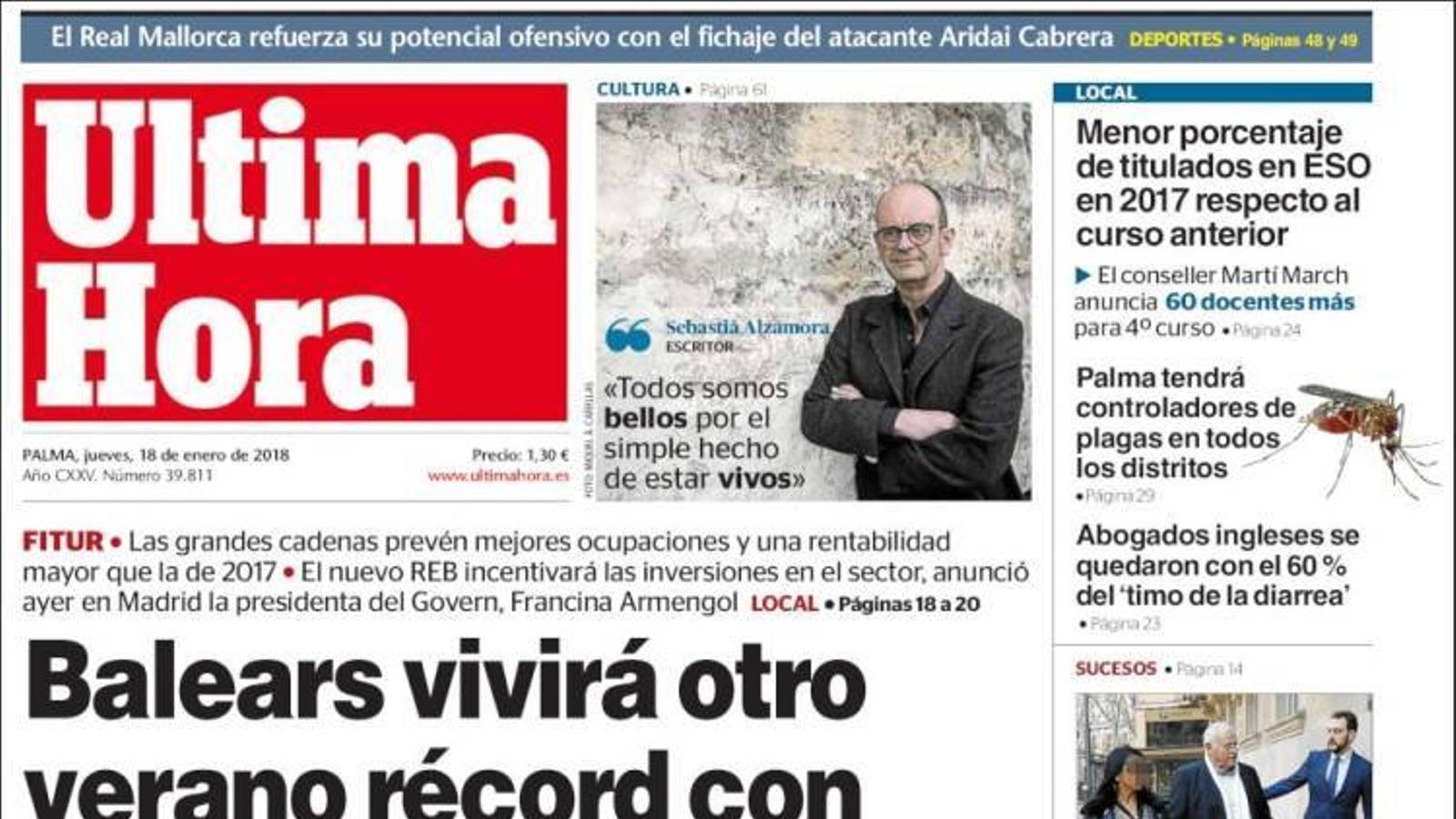 """""""Els separatistes amenacen amb Puigdemont o eleccions"""", portada d''El País'"""