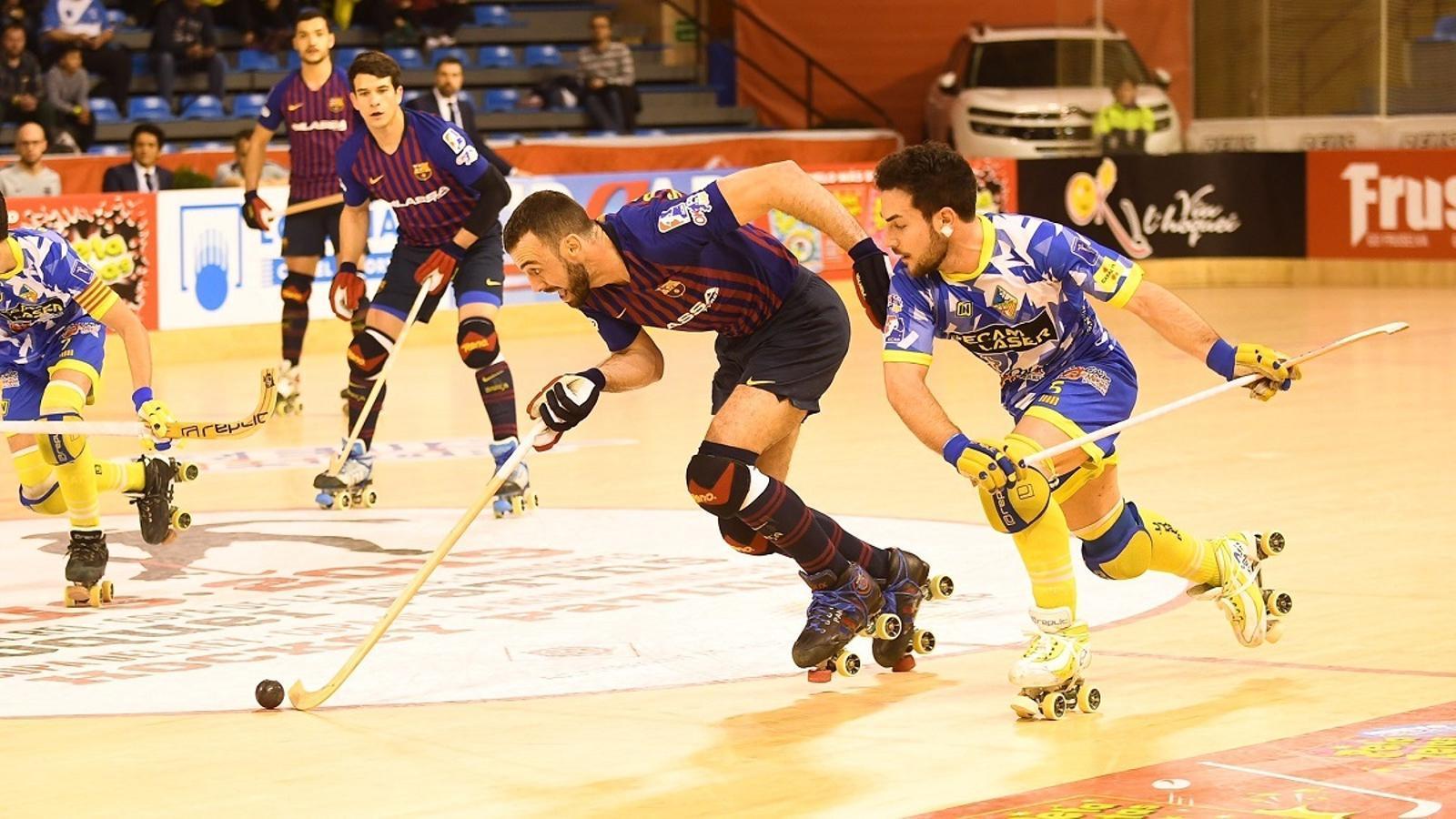 El Barça Lassa ha derrotat el Caldes a la semifinal de Copa d'hoquei patins (1-2)