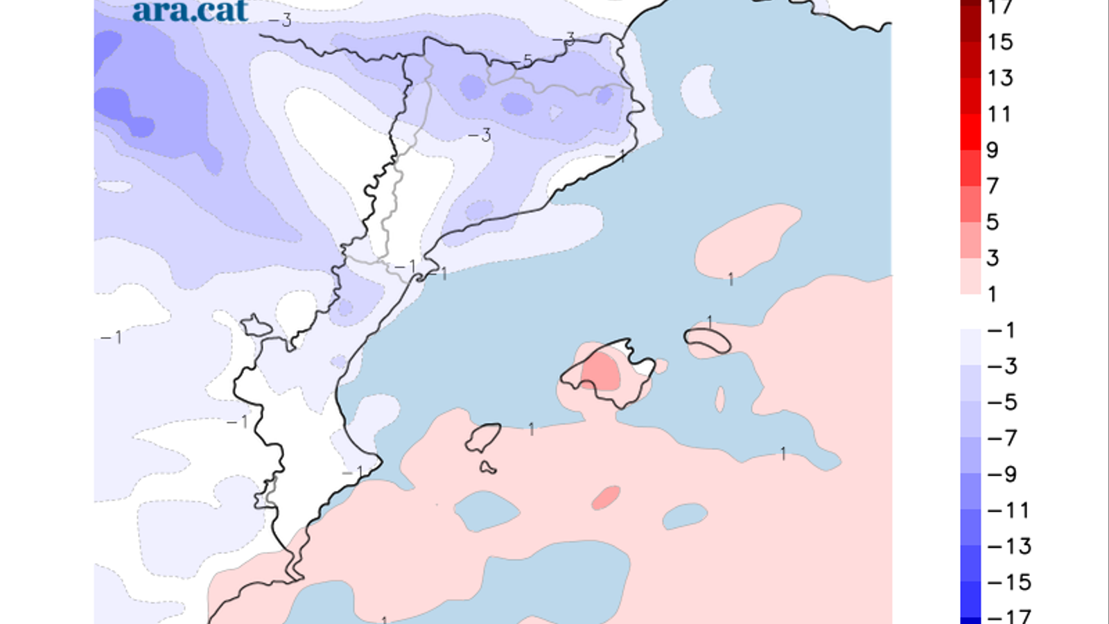 Diferència prevista entre la temperatura màxima d'avui i la de diumenge