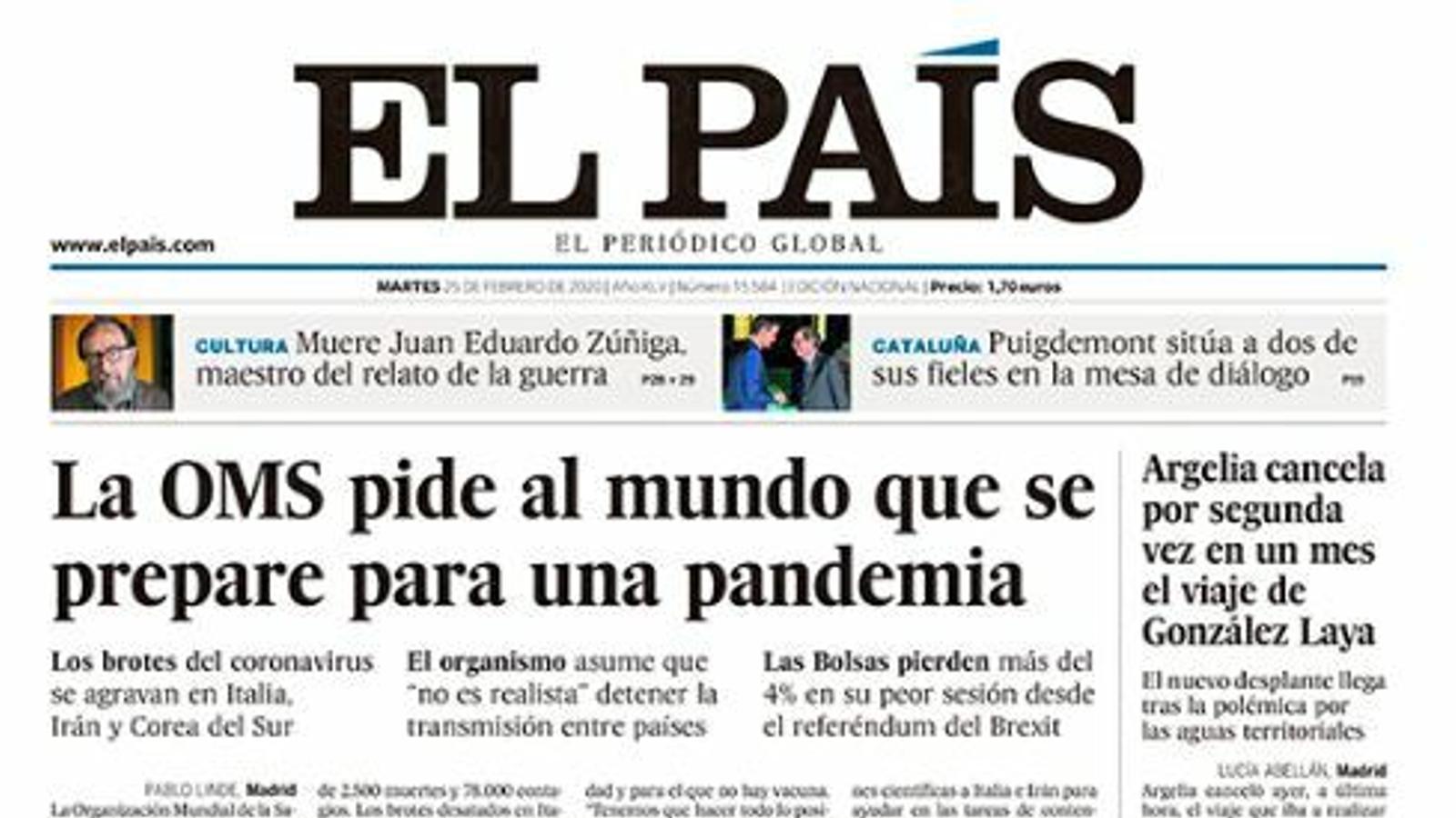 Portada d'El País, 25 de febrer del 2020