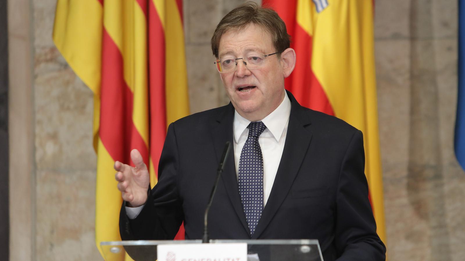 El cap del Consell, Ximo Puig, durant la seva compareixença aquest diumenge
