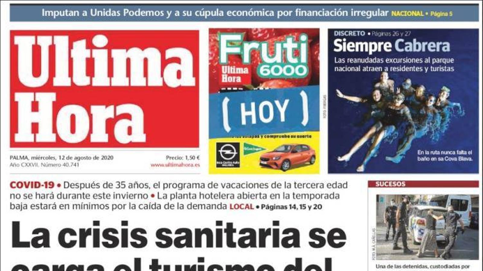 """""""La crisi sanitària es carrega el turisme de l'Imserso a Mallorca"""", portada de l''Última Hora'"""