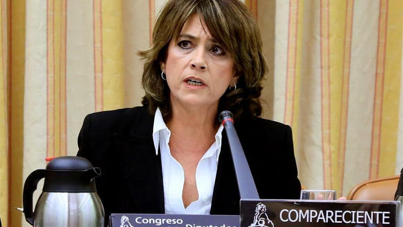 La futura fiscal general de l'Estat, Dolores Delgado, en la compareixença davant la comissió de Justícia del Congrés