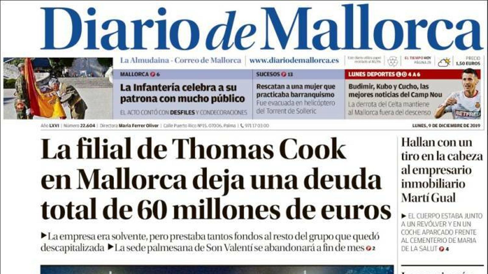 """""""La filial de Thomas Cook a Mallorca deixa un deute total de 60 milions d'euros"""", portada de 'Diario de Mallorca'"""