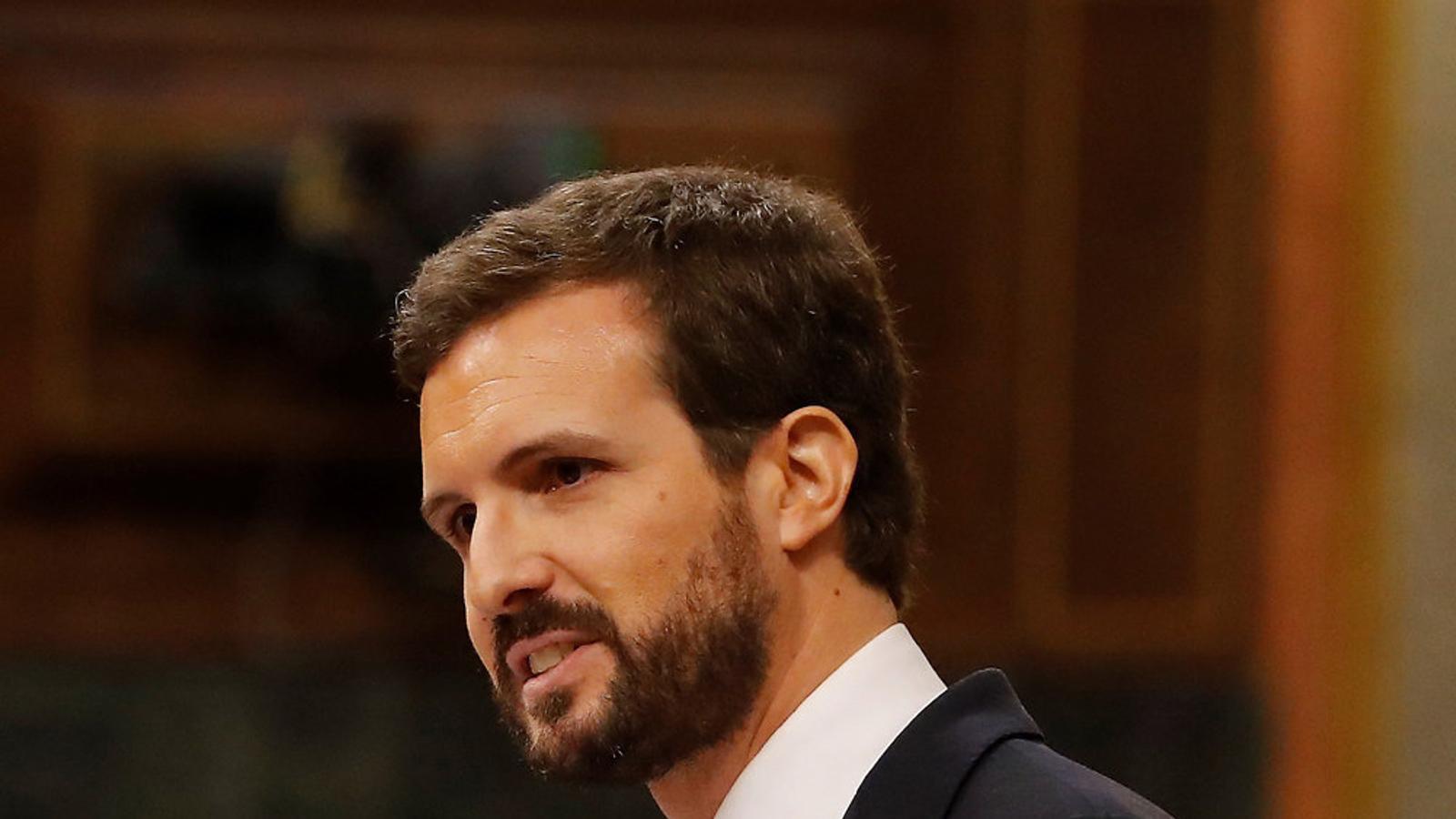 El líder del PP, Pablo Casado, ahir durant el debat al Congrés de Diputats.