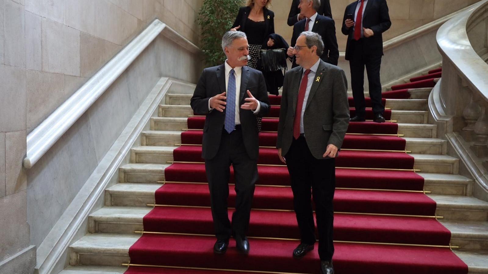 Chase Carey i Quim Torra, al Parlament de Catalunya