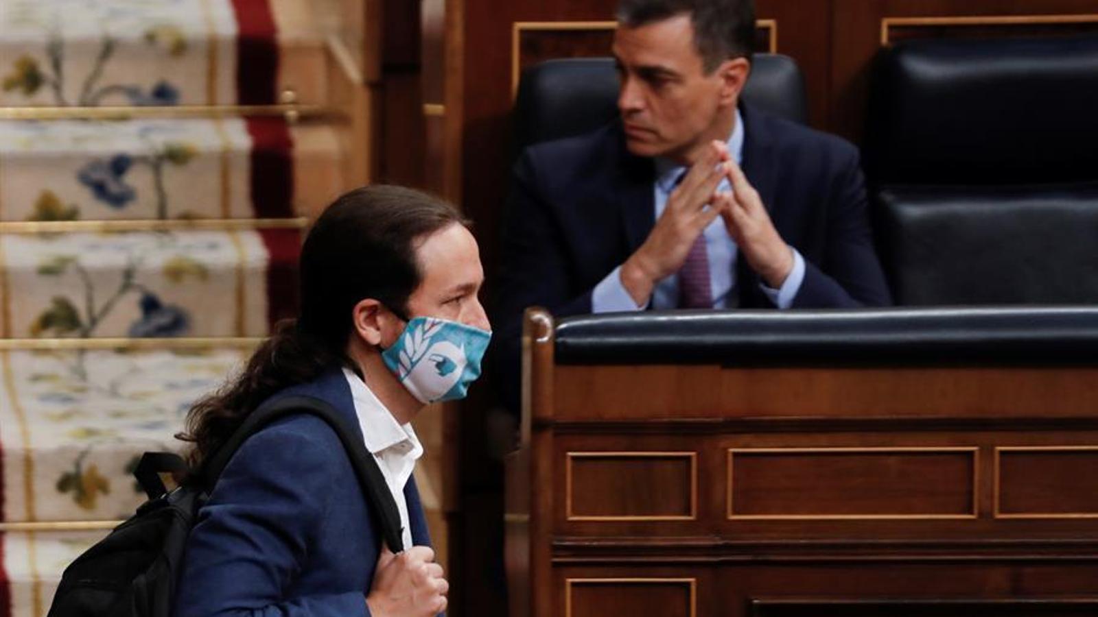 Pedro Sánchez i Pablo Iglesias, aquest dimecres al Congrés