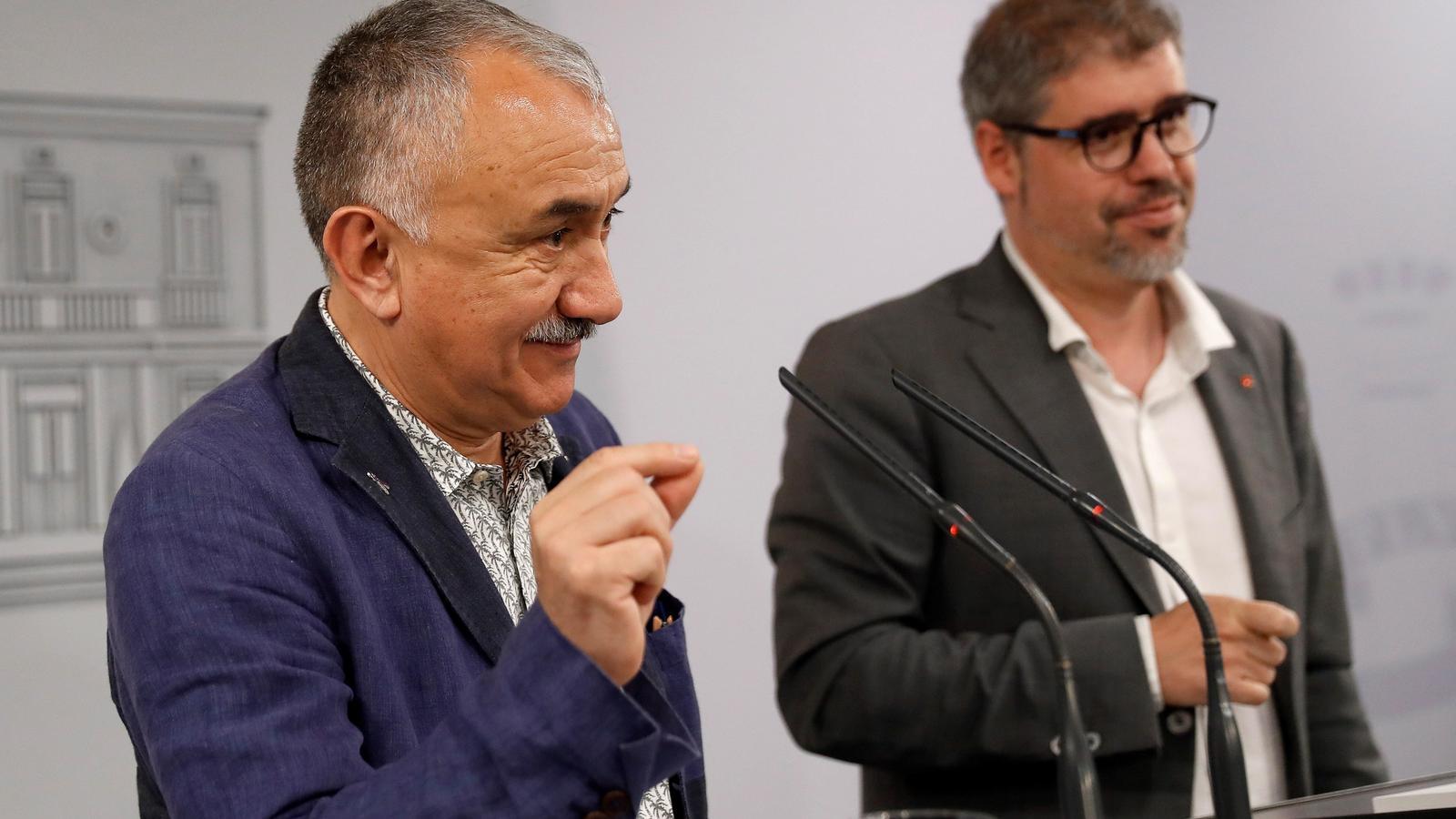 Els secretaris generals d'UGT i CCOO, Pepe Álvarez  i Unai Sordo.
