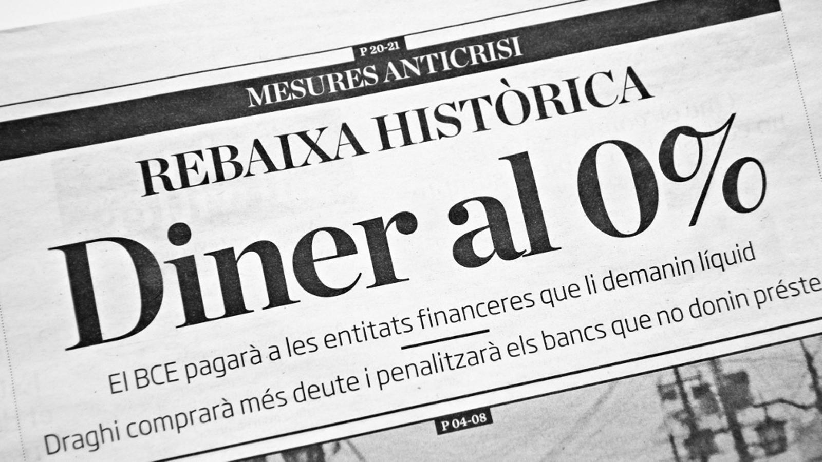 L'editorial d'Antoni Bassas: L'estrany cas del diner al  0%