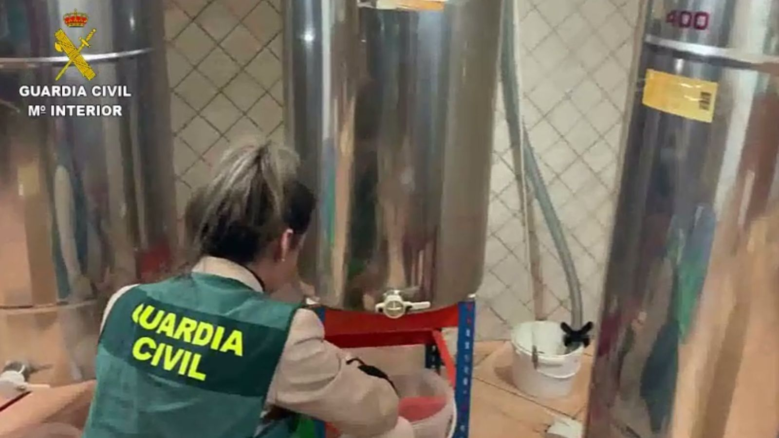 Una agent de la Guàrdia Civil durant la la inspecció al magatzem on envasaven i etiquetaven la mel.