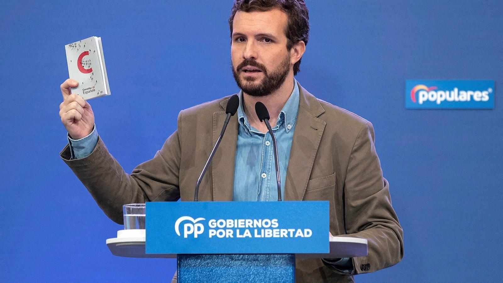 El líder del PP, Pablo Casado, ahir durant  el seu acte  a Múrcia.