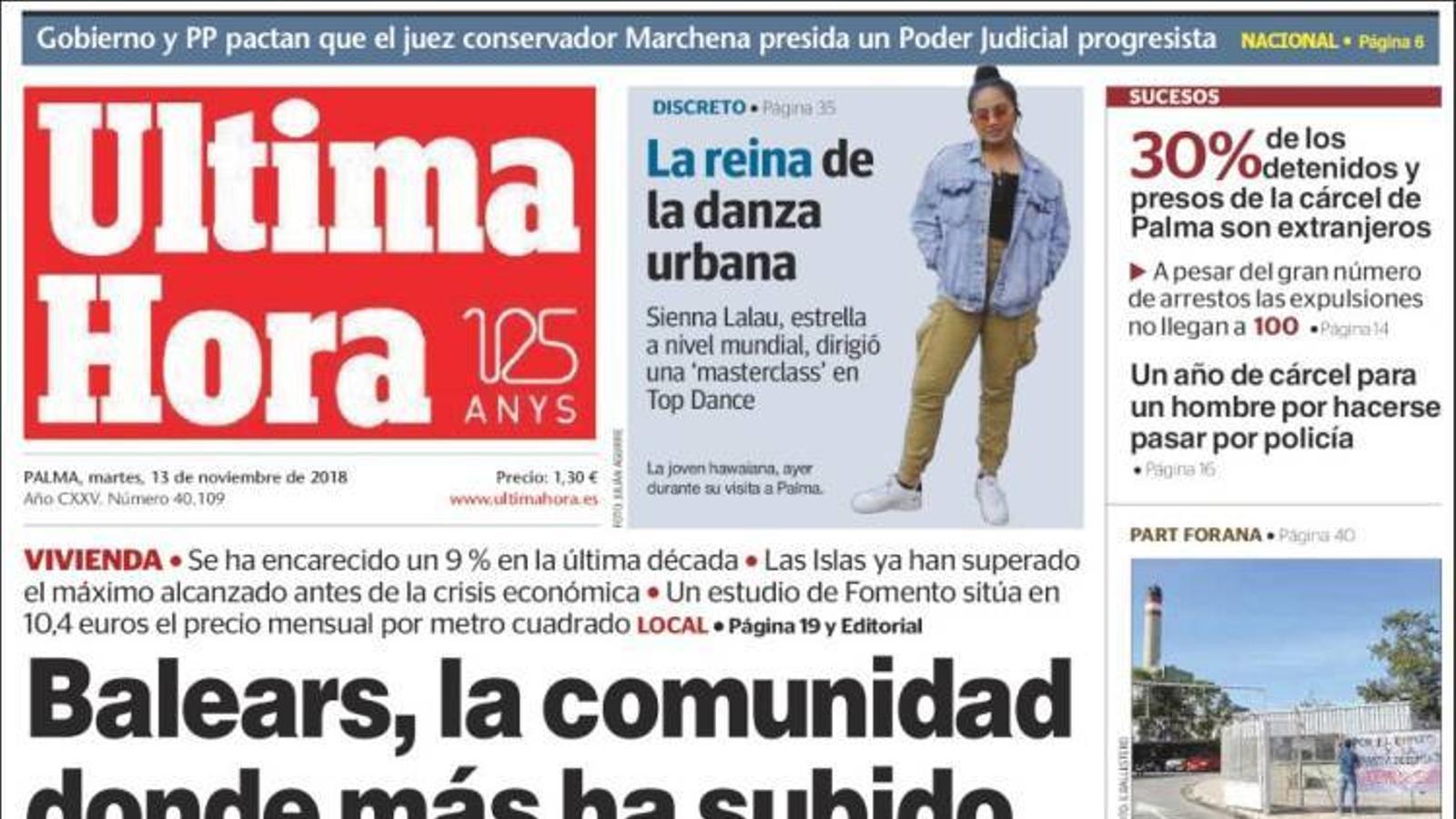 """""""Balears, la comunitat on més ha pujat el lloguer en 10 anys"""", portada d''Última Hora'"""