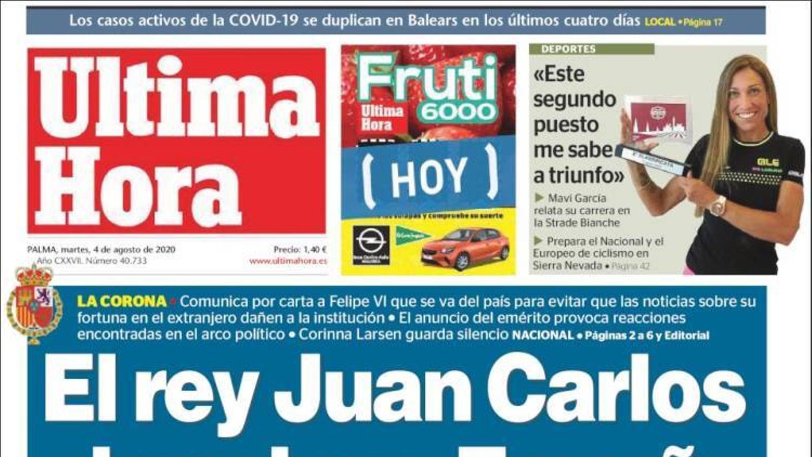 """""""El rei Joan Carles abandona Espanya"""", portada d''Última Hora'"""